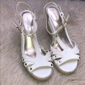 Antonio Melani White Sandals wedges size 6.5